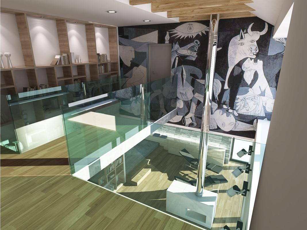widok z pierwszego piętra na salon
