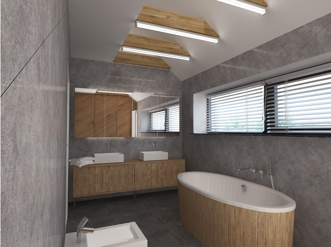 widok na projektowaną łazienkę w Chorzowie