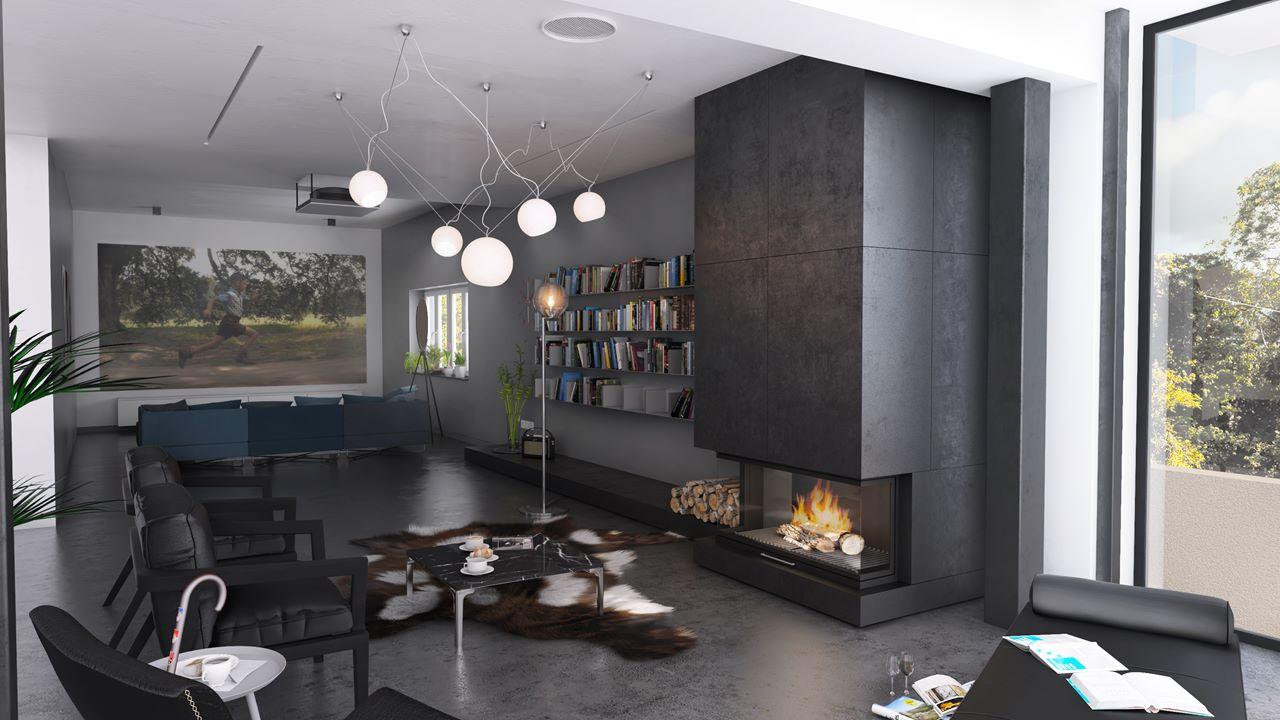 widok na salon z kominkiem i pokój telewizjny