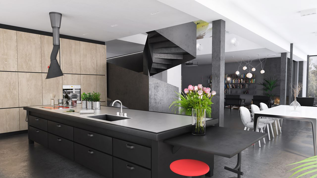projekt wnętrza domu w Katowicach widok na kuchnię
