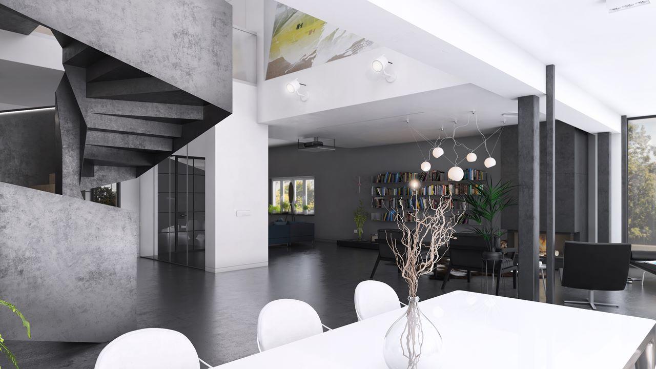 projek wnętrza widok na salon z jadalni