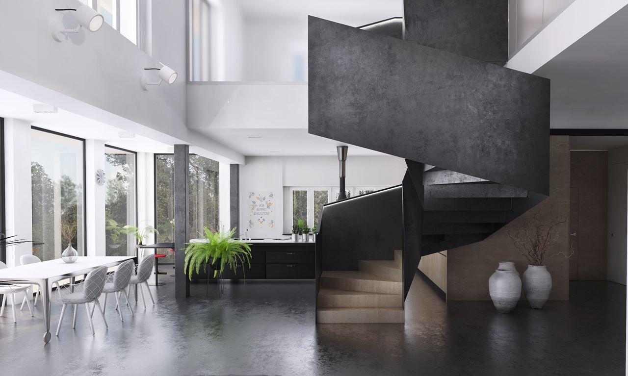 widok na stalową klatkę schodową