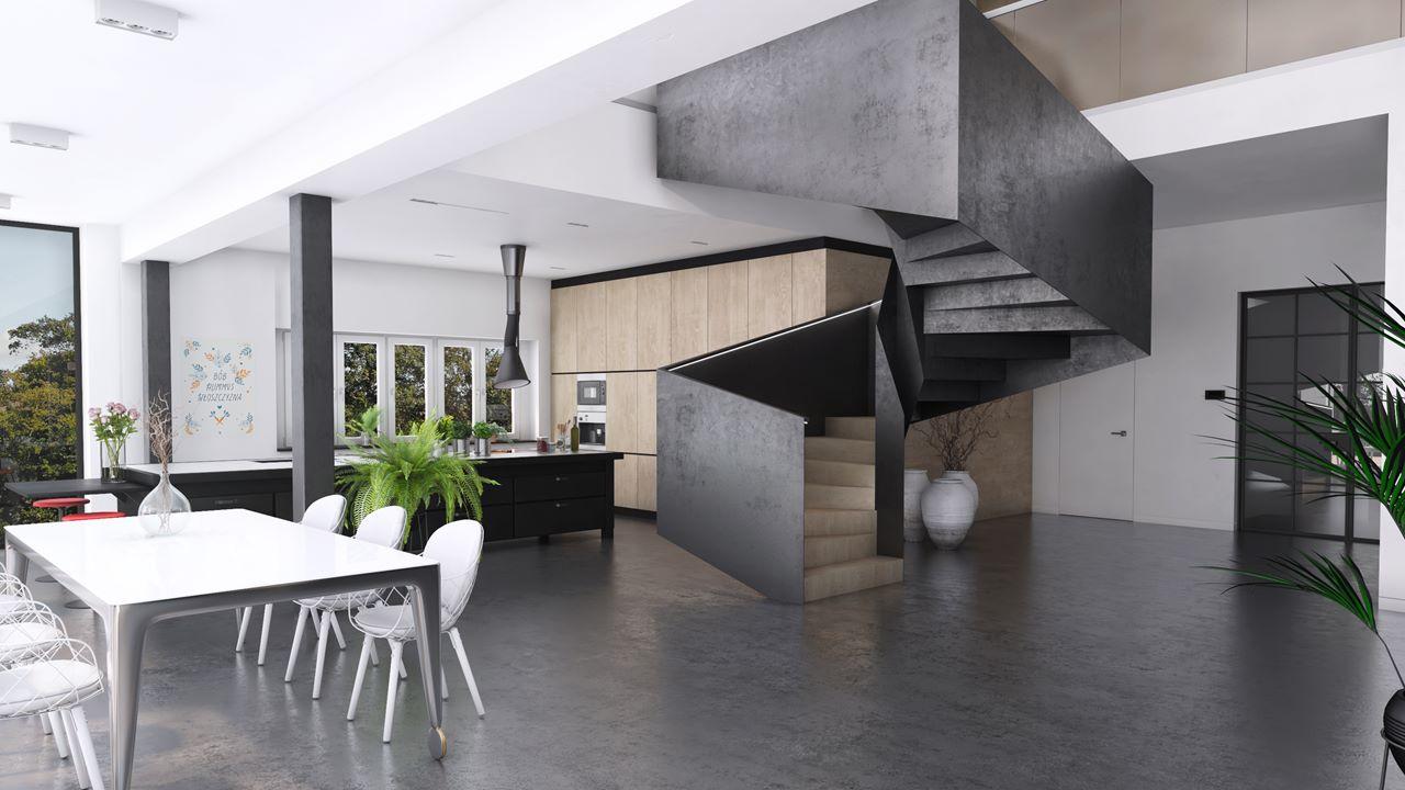 widok na kuchnię i schody
