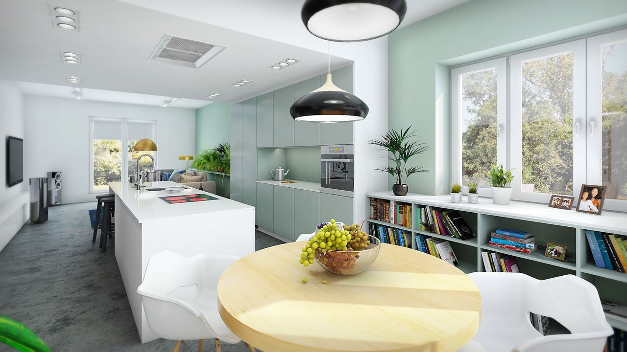 widok z jadalni na kuchnię i salon