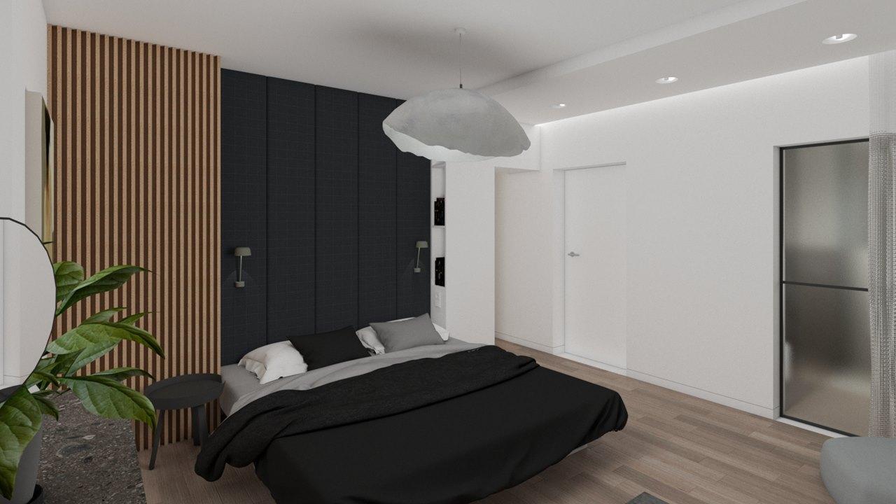 sypialnia-w-domu-jednorodzinnym-drewniana-sciana-tapicerowany-zaglowek