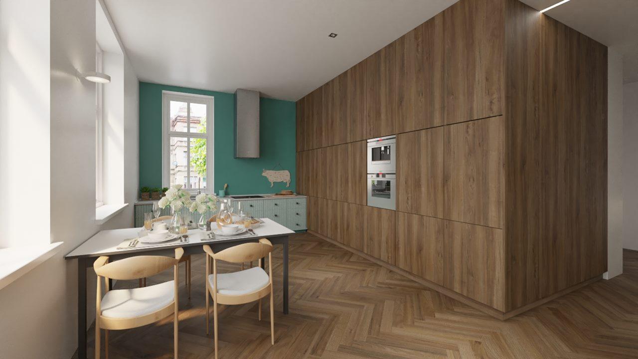 jadalnia-i-kuchnia-wykonczona-drewnem-podloga-parkiet