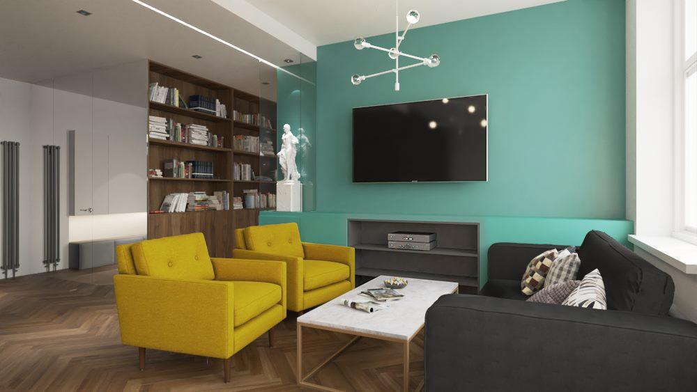 salon-hol-i-korytarz-w-kolorach-zieleni-i-w-drewnie