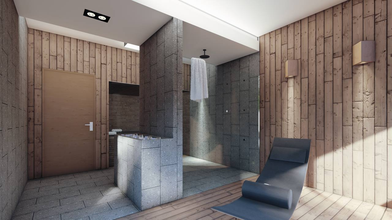 prysznic-w-saunie-wykonczonej-drewnem-i-plytkami-terazzo