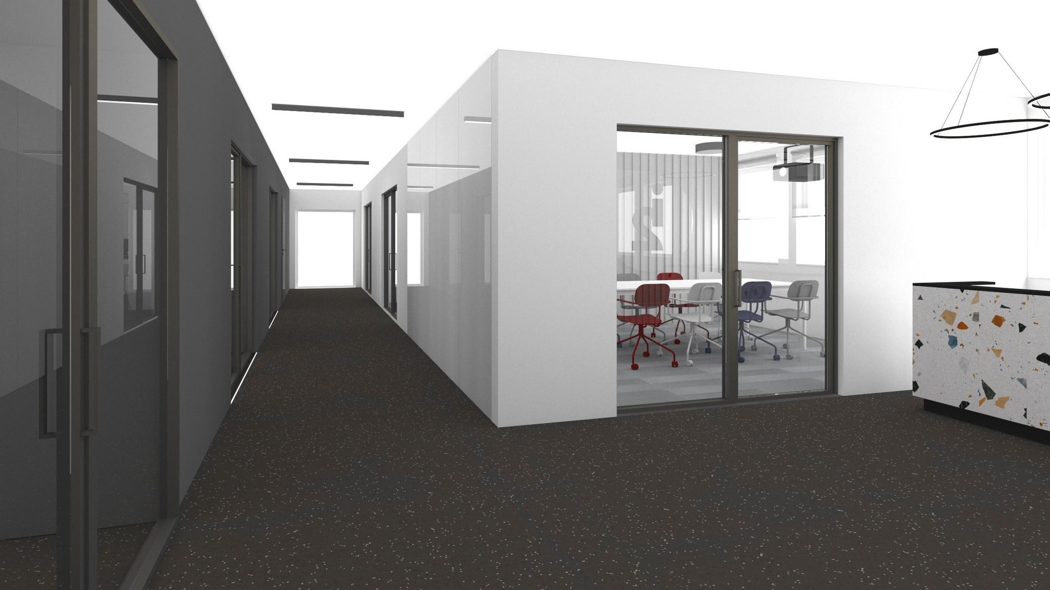 korytarz-i-recepcja-w-projektowanych-biurach-w-kolorach-bialo-szarych