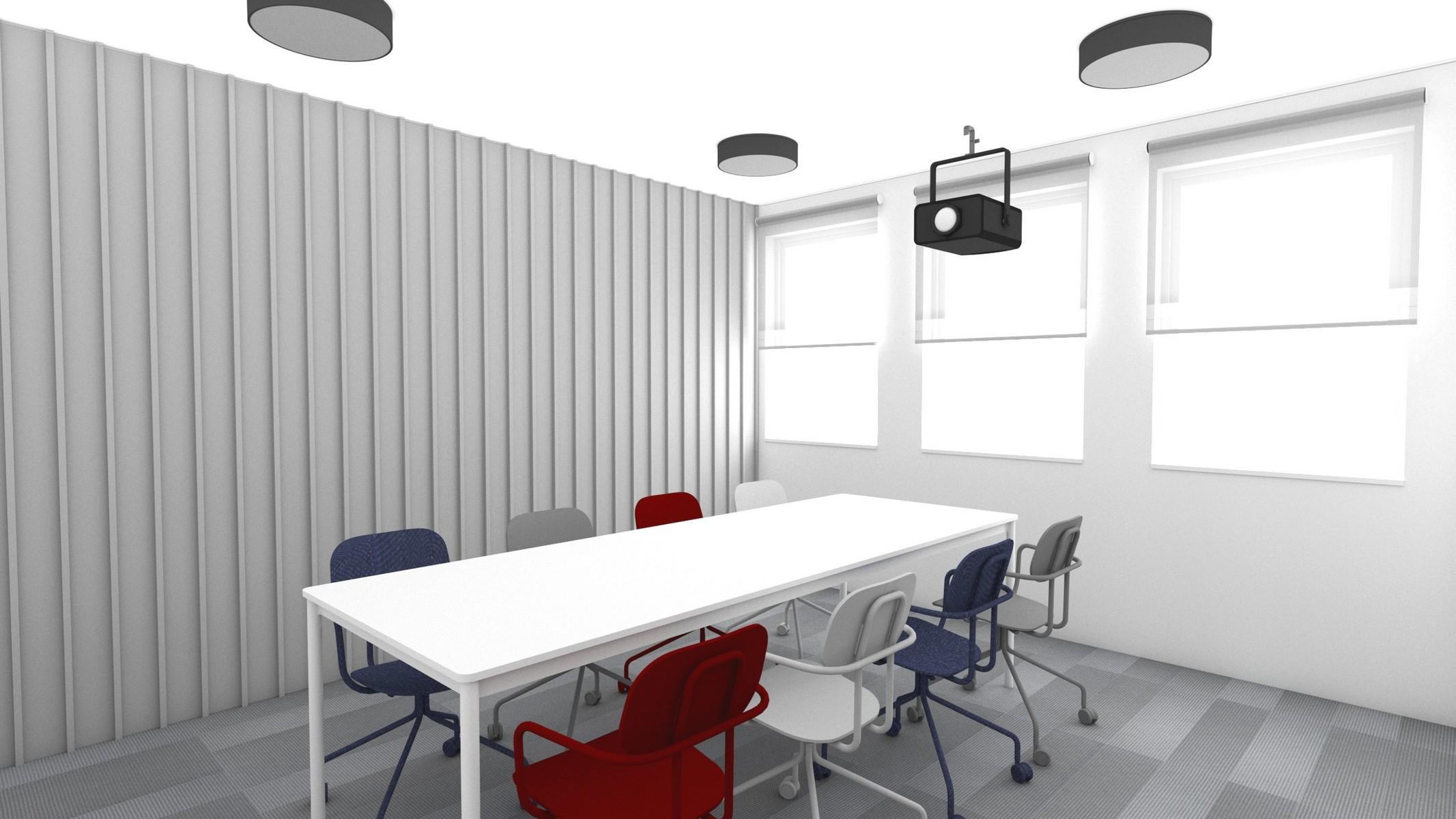 pokoj-konferencyjny-bialo-szare-kolory-czerwone-i-granatowe-krzesla