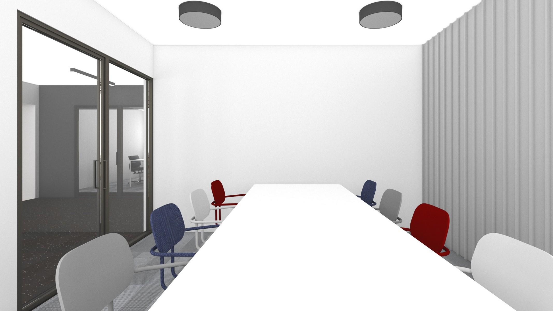 pokoj-konferencyjny-w-kolorach-bialo-szarych-kolorowe-krzesla